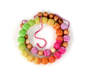 Nursing necklace - All natural  necklace Boho chic crochet necklace summer Breastfeeding necklace - in soft summer rainbow colors