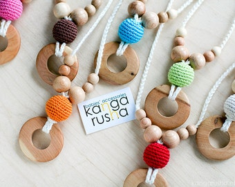Pure juniper Nursing necklace / Babywearing necklace juniper ring pendant by kangarusha - choose your color christmas gift under 15