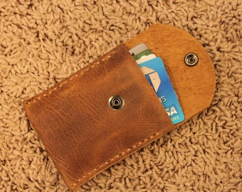 Leather Credit card or Business card case Holder - Handmade in USA  Top Grain Genuine Leather
