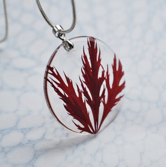 Pressed Leaf Necklace Red Botanical Resin Jewelry Pressed Acer Leaves Love Nature Woodland Autumn