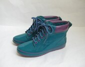 Vintage 80s Green and Purple Rain Duck Boots. Size 8