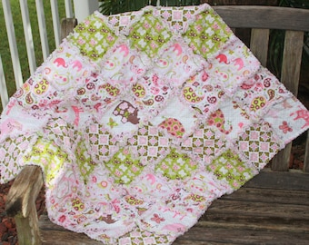 READY To SHiP BEAUTiFUL FiNiSHED BLeND ANiMAL PARADE Rag Quilt GREAt BABY GiFt
