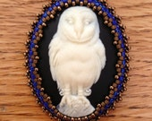 Bead Embroidered Owl Resin Cameo