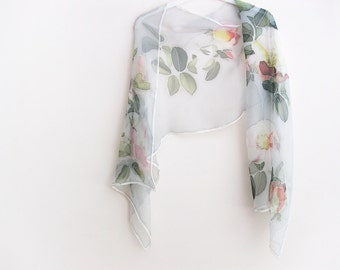 Silk chiffon scarf Hand painted Mothers day gift Grey white green roses - made TO ORDER