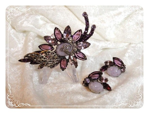 Lavender/Purple Floral Demi Brooch & Earrings Absolutely Captivating  1121ag-121511000