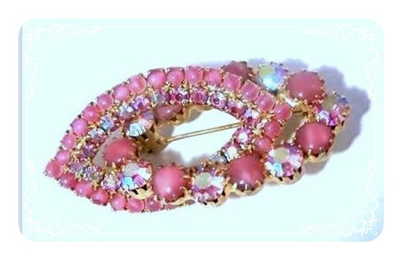 Unique Rose Aurora Borealis Layered Oval Brooch  1297ag-021610000