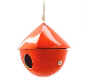 Porcelain Birdhouse- Dark Orange