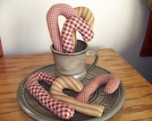 Set of 6 Primitive Homespun Candy Cane Bowl Fillers/Tucks in Assorted Burgundy Homespun Fabrics