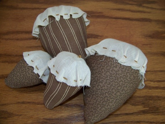 Set of 4 Primitive Acorn Bowl Fillers/Tucks in Brown Fabric and Muslin