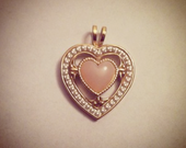 Gold HEART necklace Charm PINK with PEARL detail,