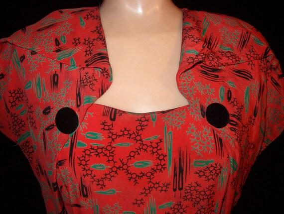 1940 Red Print Swing Dress, Cocktail Dress WWII Metal Zipper Small