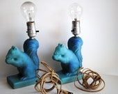 Vintage Van Briggle Squirrel Lamps-Set of two-RARE