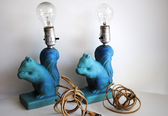 Vintage Van Briggle Squirrel Lamps Set Of Two Rare By Attic17