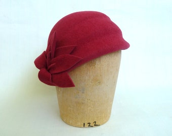 Red Coral Cloche With Felt Flowers Handmade For Women