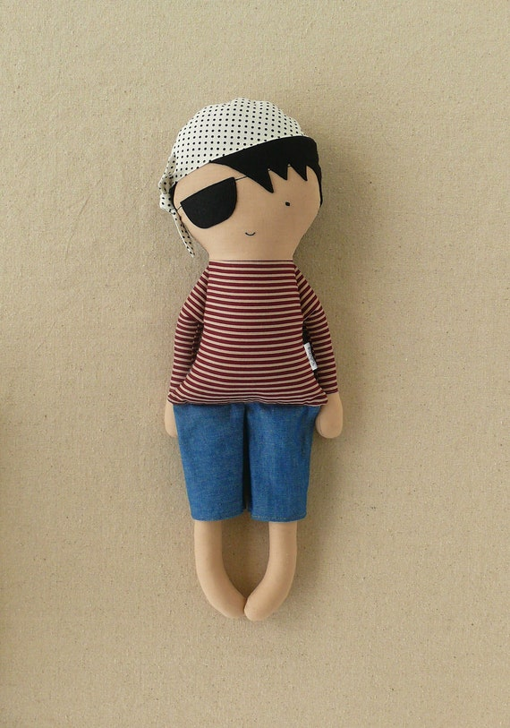 Fabric Doll Rag Doll ... Pirate with Striped Shirt -- made-to-order