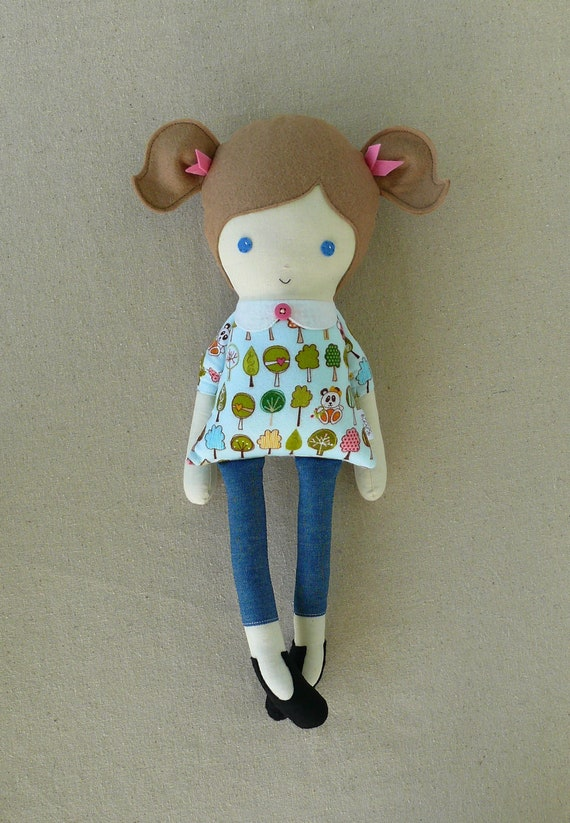 Fabric Doll Rag Doll Blue Eyed Girl with Ponytails
