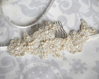 Champagne Lace Bridal Headband, Hand Beaded w/ satin tie - Swarovski pearls & crystals Hair Accessories, Champagne, White, or Ivory - 100HB
