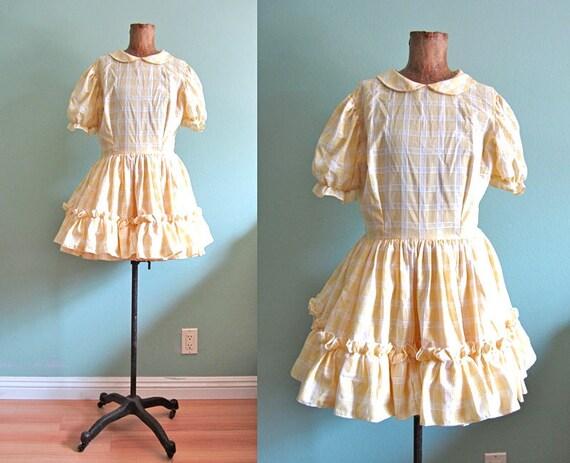 SALE peter pan collar dress/ vintage 1950s baby doll dress/ kawaii ruffle dress S