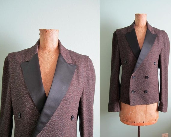 1980s menswear inspired brown and black satin double breasted TUXEDO jacket s-m