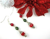 Christmas Earrings with Ruby Czech Glass, Red and Olive Glass Pearls, and Silver Plated Findings