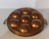 "Heavy Copper with Brass Handles Egg Poacher Fryer for 7 Eggs 10"" DIam"