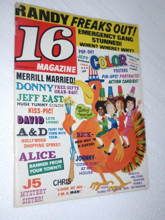 Sale  16 Magazine Dec 1973 Issue Donny Osmond David Cassidy Michael Jackson Color Poster Intact