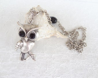 Silver Owl Necklace, Black Owl Necklace, Gifts for Her, Best Friend Birthday, Flower Girl Jewelry