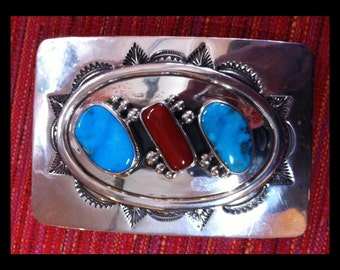 Deep Stamp Design Sterling,Turquoise, Coral Buckle Signed : High Polish Excellent Vintage Condition