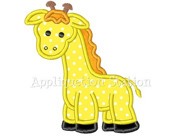 Giraffe Applique Machine Embroidery Design Pattern baby animal boy girl yellow INSTANT DOWNLOAD