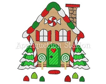 Gingerbread House Applique Machine Embroidery Design Candy Christmas Holiday INSTANT DOWNLOAD
