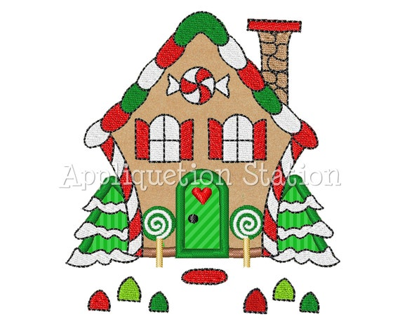 gingerbread house applique machine embroidery design candy