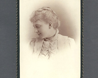 Profile Portrait Cabinet Card of a Young Woman