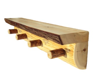 Half Log Peg Shelf, Rustic Shelves, Rustic Wood Shelf, Log Shelving