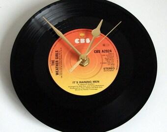 "The Weather Girls Vinyl Record CLOCK from recycled 7"" single ""Its Raining Men"" Fun pop music gift 1980s girls hen night women best friend"
