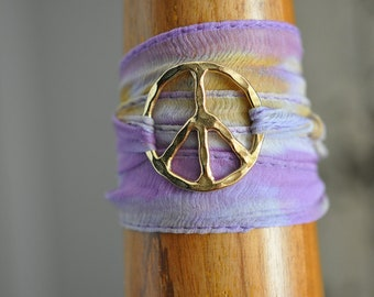 Purple and Orange silk tie-dye wrap bracelet with large vermeil peace sign