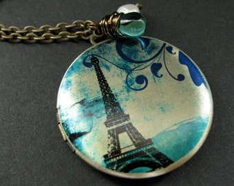 Locket Necklace. Eiffel Tower Locket with Fresh Water Pearl and Aqua Teal Teardrop. Eiffel Tower Necklace. Handmade Jewelry.