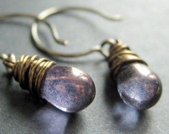 BRONZE Earrings - Dark Purple Earrings with Glass Teardrops, Wire Wrapped Earrings. Handmade Jewelry.