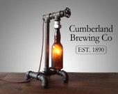 Beer Bottle Lamp - Industrial Lighting - Steampunk Furniture - Man Cave