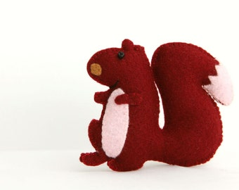 Felt Plushie Hand sewing Pattern PDF. Complete instructions to make Chester the Squirrel. Instant download.