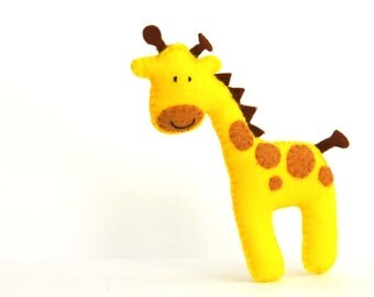 Felt Plushie Hand sewing Pattern PDF. Complete instructions to make Stretch the Giraffe.