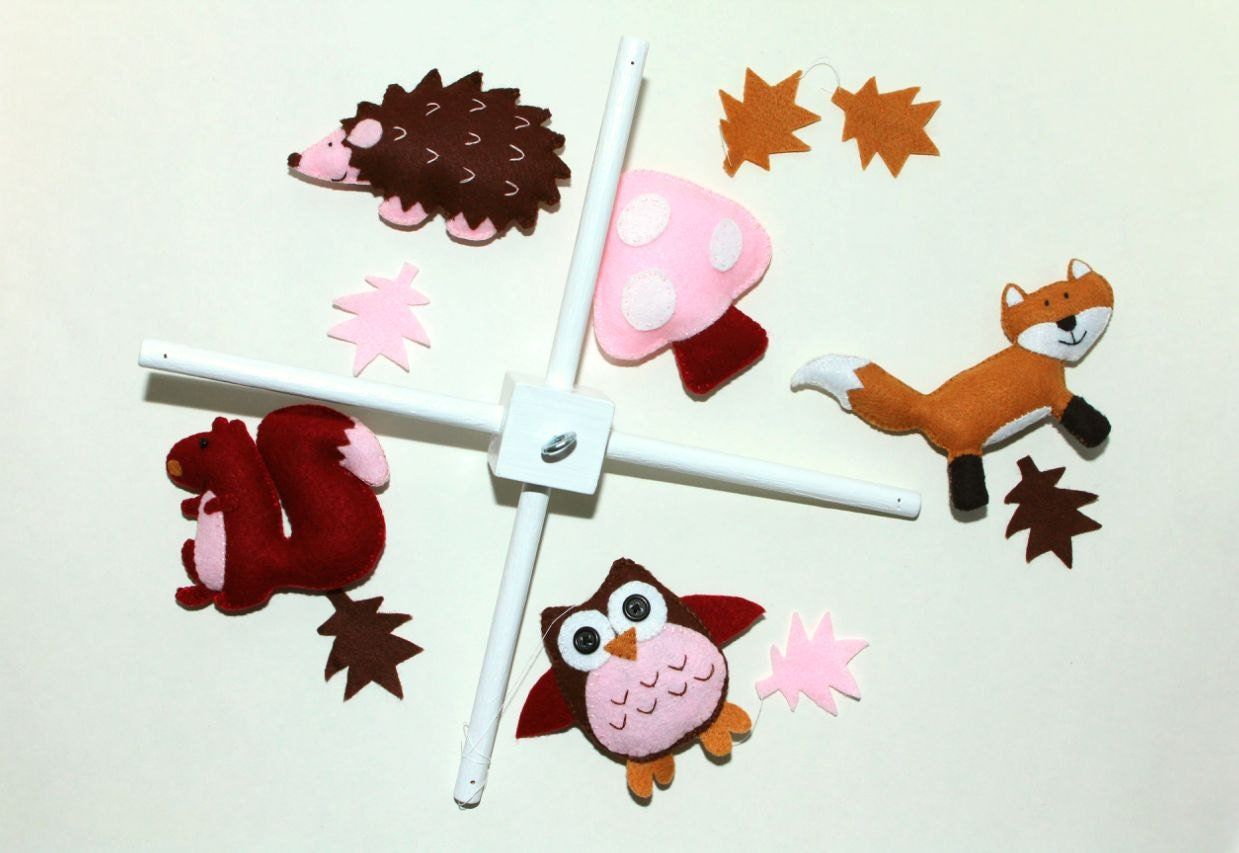 Felt Baby Crib Mobile Pattern Woodland Animals Diy Mobile