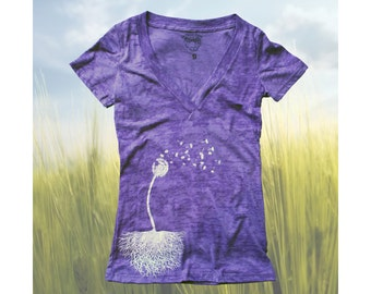 Womens T Shirt  Dandelion with roots Burnout Deep V-neck