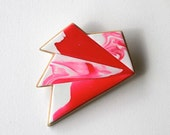 In a Whirl brooch in 'pink flamingo' - abstract, geometric, wood, neon, fluorescent, pink and white.