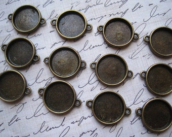 Round Pendant Setting / Round Connector Setting / 6 pcs Antique Bronze- Perfect for Necklaces, Bracelets 19mm outside / 15mm inside
