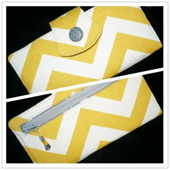 Chevron Womens Wallet, Bi Fold Organizer in Yellow/Natural/Gray, Handmade Clutch
