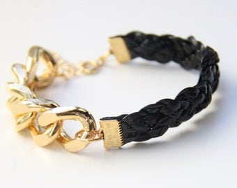 Arm candy - Gold Extra chunky chain with Black leather braid Bracelet - 24k gold plated
