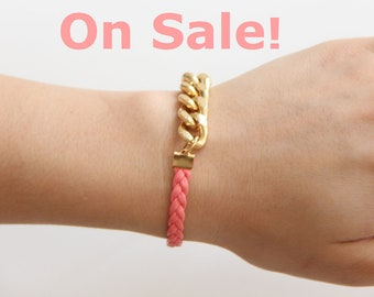 ON SALE: Pink Arm Candy - Gold chunky chain with leather braid Bracelet - 24k gold plated