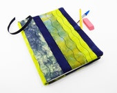 Composition Notebook Cover, Quilted Fabric Journal - Navy Blue and Olive Green Hand Dyed Cotton