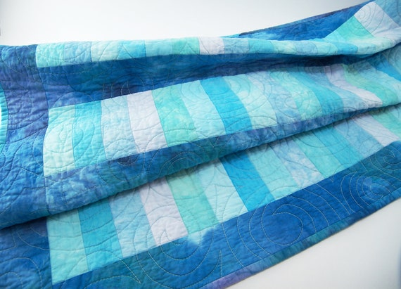Baby Quilt, Wall Hanging, Stacked Coins Crib Blanket or Cot Quilt in Hand Dyed Aqua, Turquoise and Pale Ice with Cerulean Blue