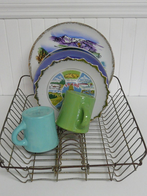 NICE Antique Wire Metal Dish Drain Rack, Sturdy and Usable, Dish Drainer, Collectible